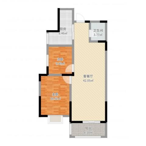 湟家花园2室2厅1卫1厨86.68㎡户型图