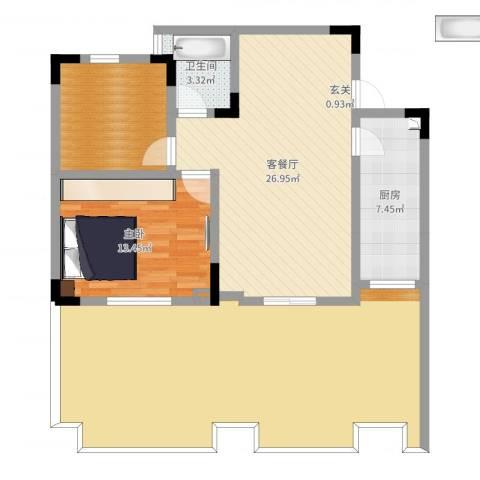 竣尊・御景国际1室2厅1卫1厨122.00㎡户型图