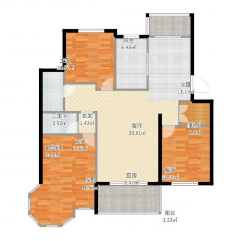 环球香樟园3室1厅2卫1厨136.00㎡户型图