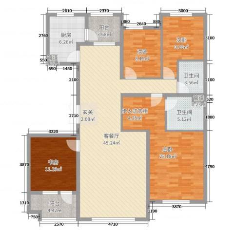 南郡水云天三号4室2厅2卫1厨161.00㎡户型图