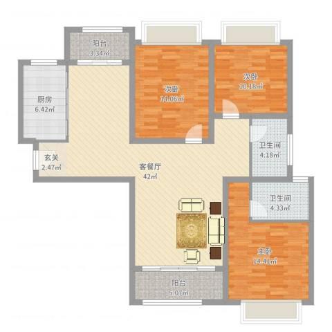 宝龙香槟湖3室2厅2卫1厨130.00㎡户型图