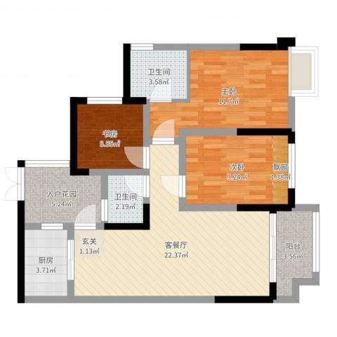 九鼎・御江山3室2厅2卫1厨84.00㎡户型图