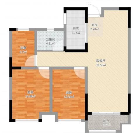 泰鑫・现代城3室2厅1卫1厨112.00㎡户型图
