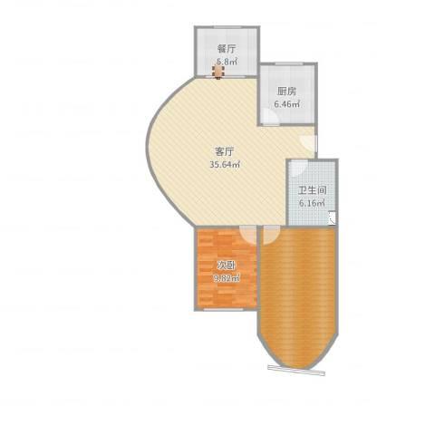 春山华居2室2厅1卫1厨83.53㎡户型图