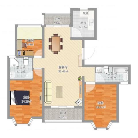 华府壹区3室2厅2卫1厨113.00㎡户型图
