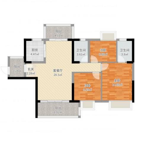 恒达花园3室2厅2卫1厨106.00㎡户型图