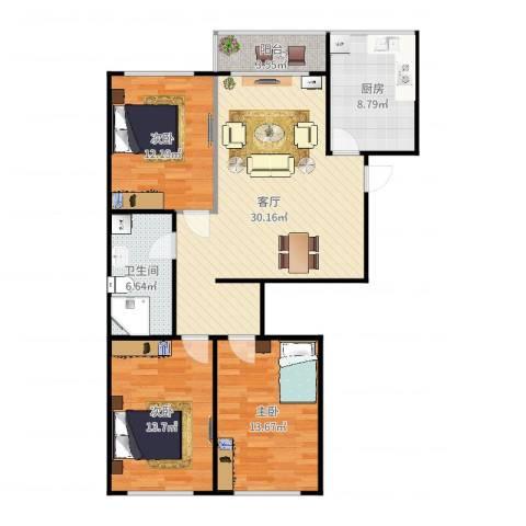 兴润公寓3-8013室1厅1卫1厨111.00㎡户型图