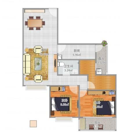 人才楼2室1厅1卫1厨95.00㎡户型图
