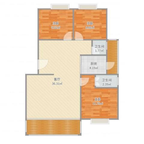 鸿业新天地3室1厅2卫1厨106.00㎡户型图