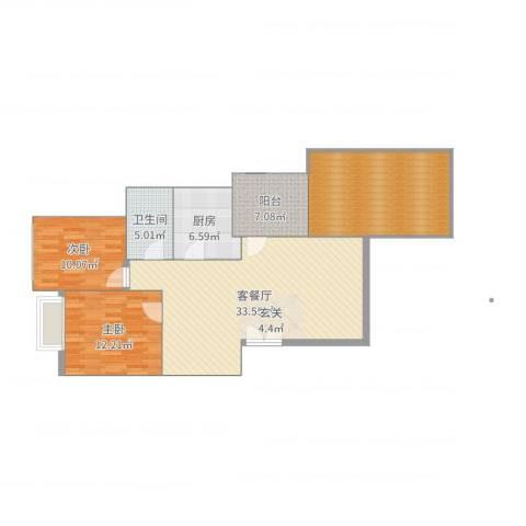 兴隆城市花园怡水园2室2厅1卫1厨115.00㎡户型图