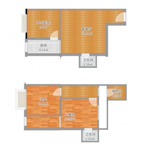 凯旋大地2室2厅2卫1厨88.00㎡户型图