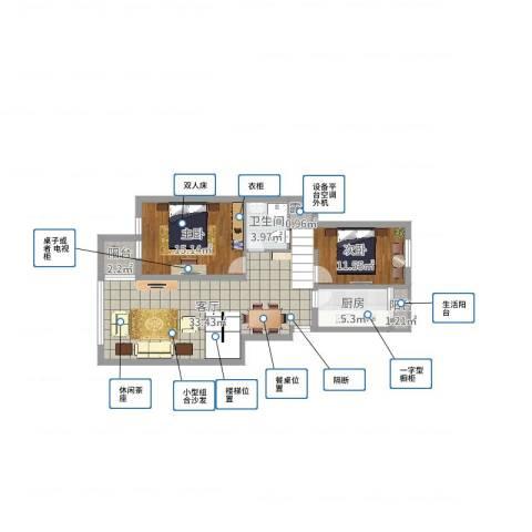 江南华庭2室1厅1卫1厨92.00㎡户型图