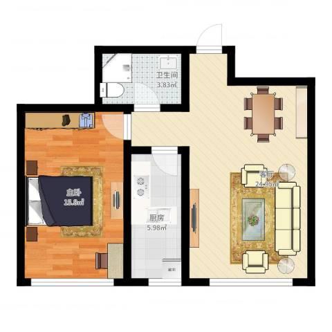 顶佳金领地1室1厅1卫1厨63.00㎡户型图