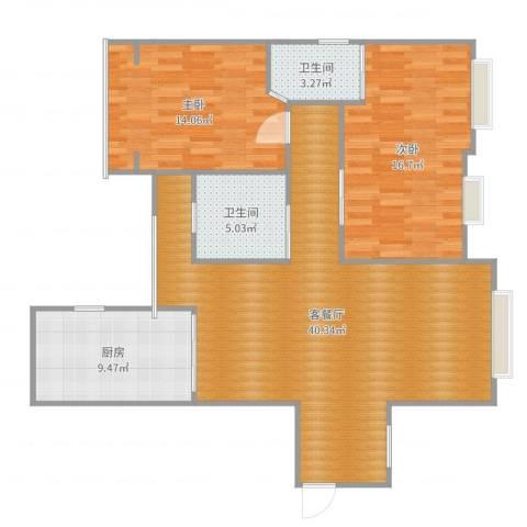 电信花园2室2厅2卫1厨111.00㎡户型图