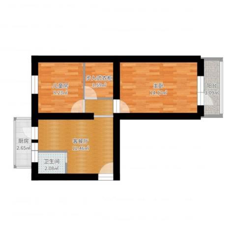 永乐小区2室2厅1卫1厨60.00㎡户型图