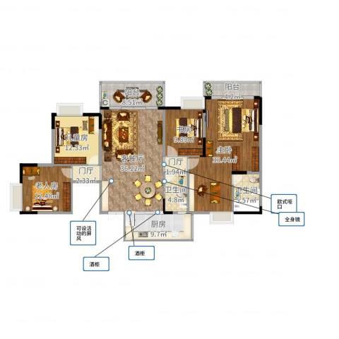 海宇西湖山水4室2厅2卫1厨177.00㎡户型图