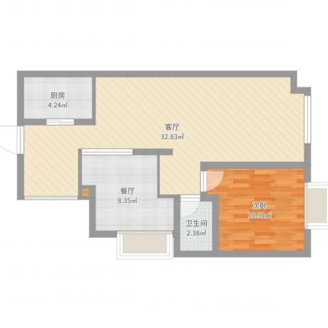 梦回唐家沟1室2厅1卫1厨73.00㎡户型图