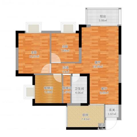 文泉西海岸2室1厅2卫1厨95.00㎡户型图