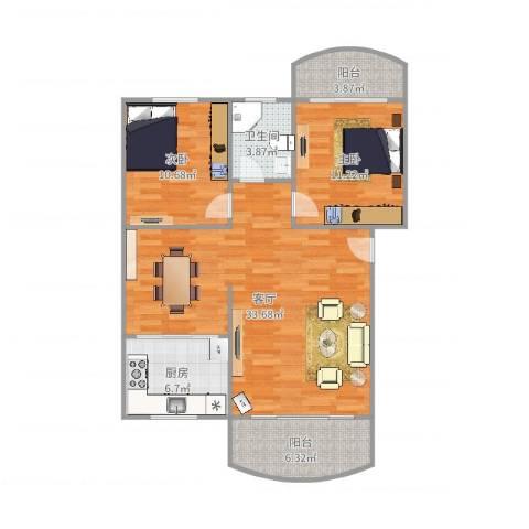 龙福花园2室1厅1卫1厨95.00㎡户型图
