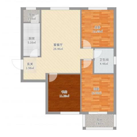 金垣置地3室2厅1卫1厨99.00㎡户型图