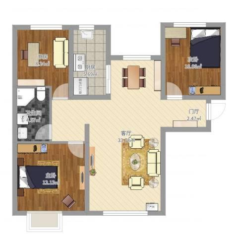 时代雅筑花园3室1厅1卫1厨93.00㎡户型图