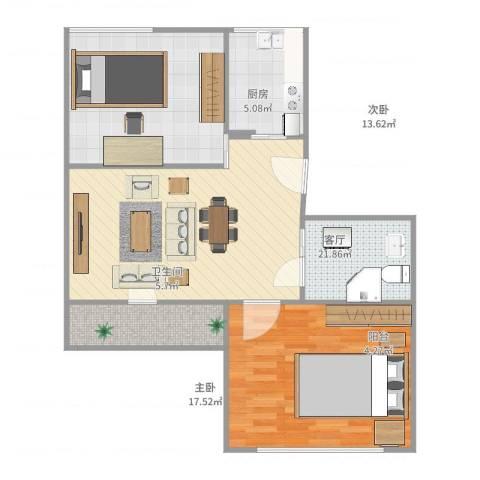 永乐小区2室1厅1卫1厨85.00㎡户型图