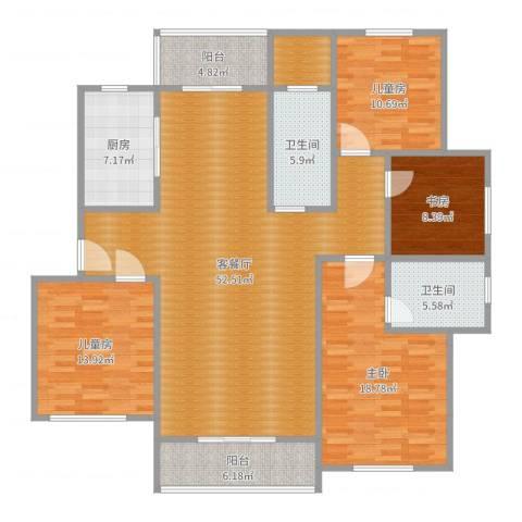 水岸明珠4室2厅2卫1厨171.00㎡户型图