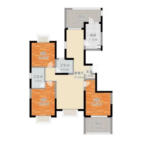 城中花园3室2厅2卫1厨141.00㎡户型图
