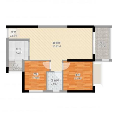 港湾江城2室2厅1卫1厨72.00㎡户型图