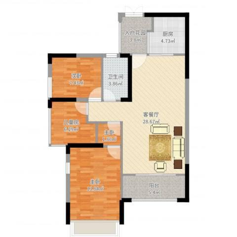 三远大爱城4室2厅1卫1厨95.00㎡户型图