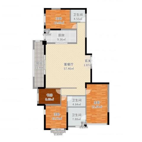 万科紫台4室2厅3卫1厨192.00㎡户型图