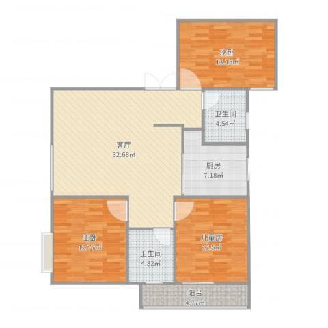 康晴居-1001-张生3室1厅2卫1厨116.00㎡户型图