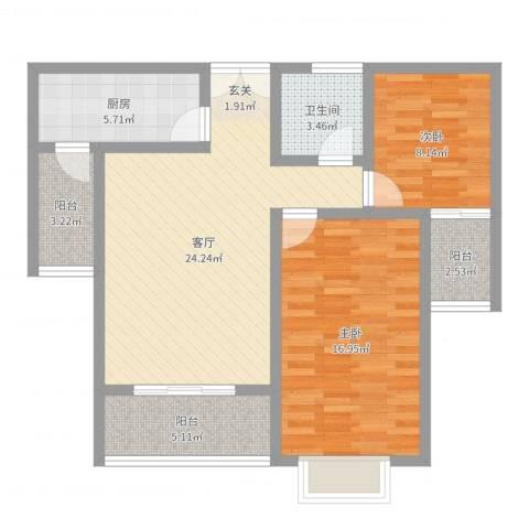 新力景瑞新城2室1厅1卫1厨87.00㎡户型图