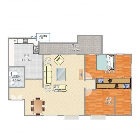 曼景兰古城2室1厅1卫1厨140.00㎡户型图