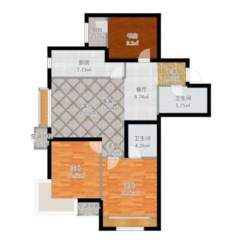新松・茂樾山3室2厅2卫1厨118.00㎡户型图