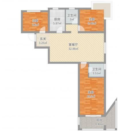 富友名族大厦3室2厅2卫1厨113.00㎡户型图