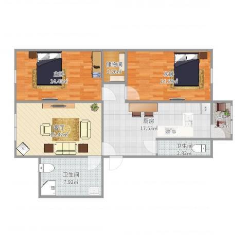 民富小区2室1厅2卫1厨96.00㎡户型图