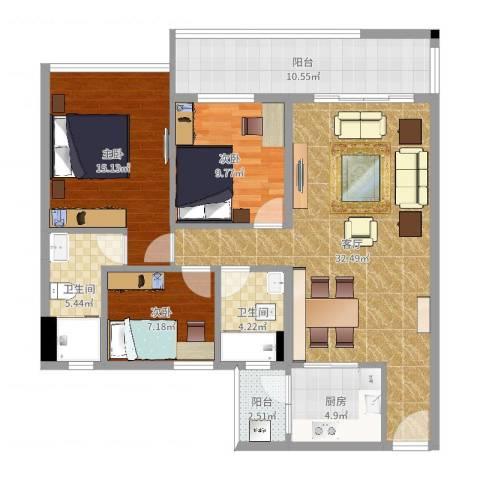 君安峰景湾3室1厅2卫1厨115.00㎡户型图