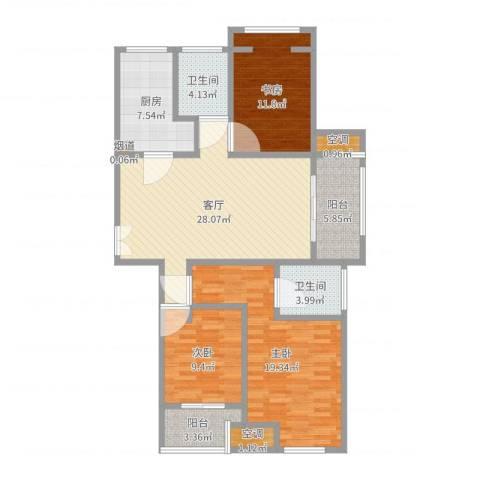 长河花园3室1厅2卫1厨120.00㎡户型图