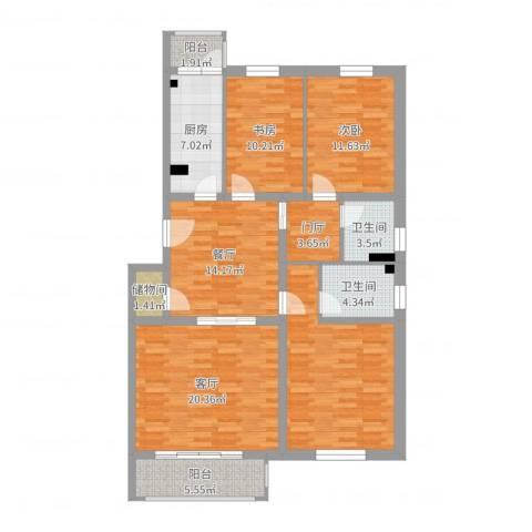 天露园一区2室2厅2卫1厨127.00㎡户型图