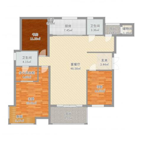徽商城市风景3室2厅2卫1厨149.00㎡户型图