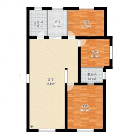 新世纪花园3室1厅2卫1厨126.00㎡户型图