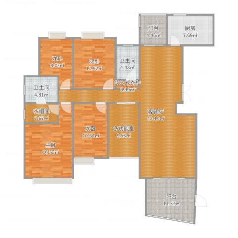 华融琴海湾4室2厅2卫1厨172.00㎡户型图