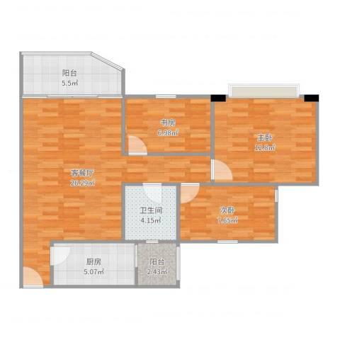 祈福新村绿怡居3室2厅1卫1厨89.00㎡户型图