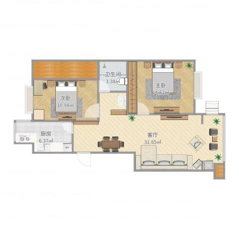 豪绅嘉苑2室1厅1卫1厨90.00㎡户型图