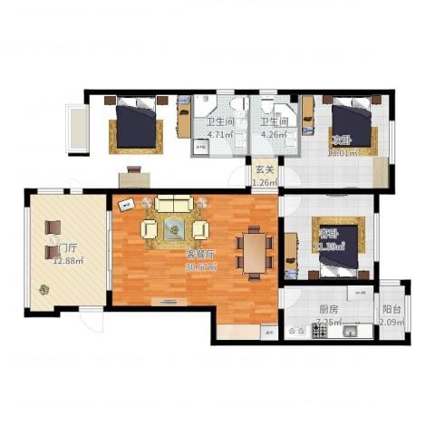 御府天苑2室2厅2卫1厨109.00㎡户型图