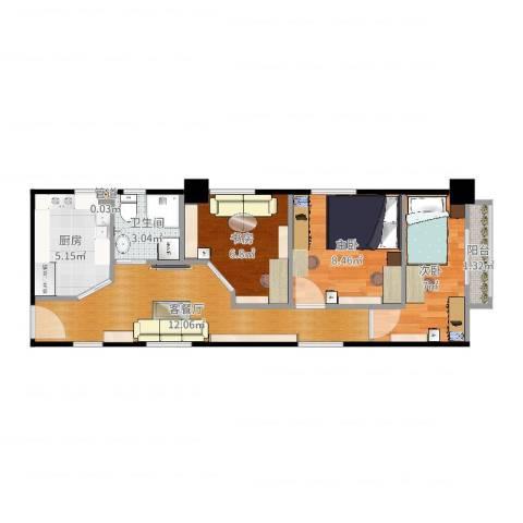 公园5号3室2厅1卫1厨55.00㎡户型图