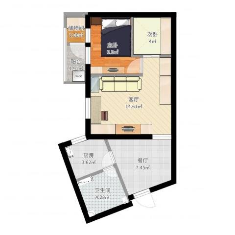 真西驰骋苑2室2厅1卫1厨55.00㎡户型图
