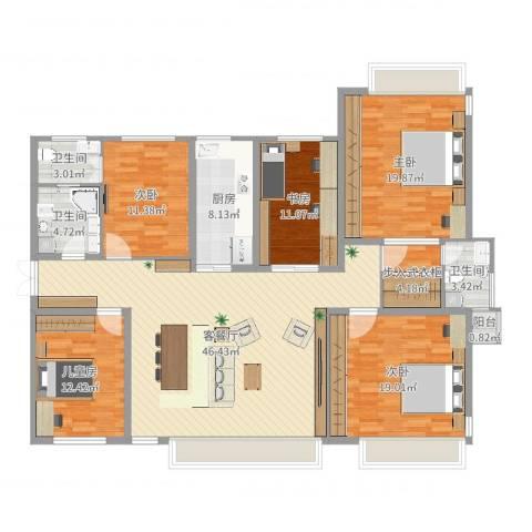 立雪佳苑5室2厅3卫1厨167.00㎡户型图