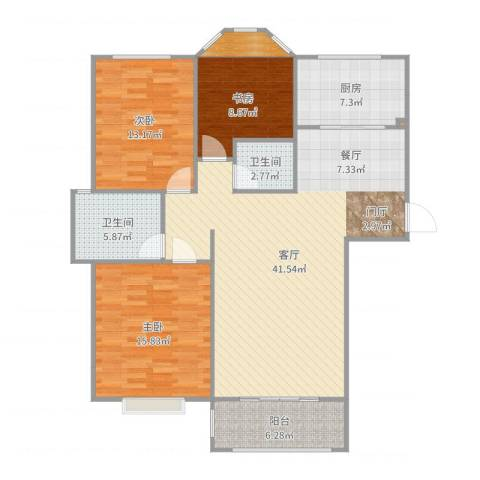 香格里拉水岸绿城3室1厅2卫1厨129.00㎡户型图